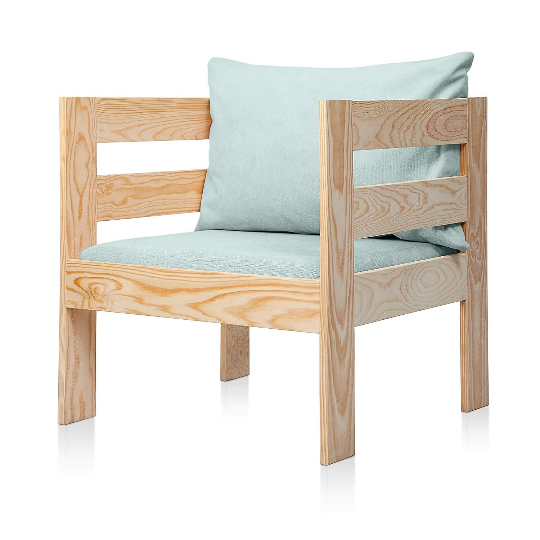 SUENOSZZZ - Sofa Jardin de Madera de Pino Color Natural, MEDITERRANEO Mod. sillón, Sillon cojín Tela Color V.Agua. Muebles Jardin Exterior. Silla para ...