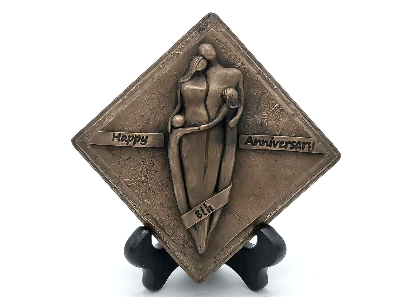 Happy 8th Anniversary Bronze Plaque Family Portrait Anniversary Gift Eighth Wedding Anniversary Gift SmHAPFO48th-BG