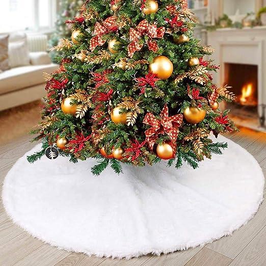 NTMY Faldas para el Árbol de Navidad Blanco Piel sintética Felpa ...