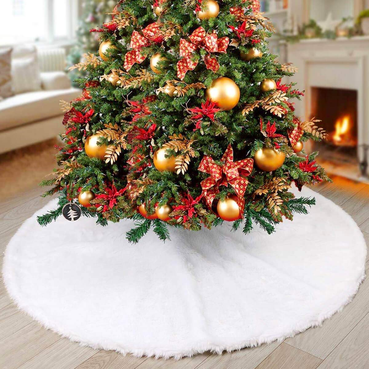 NTMY Christmas Tree Skirts White Faux fur Tree Skirts Plush Xmas Year/Party / Home Decoration (31 in / 78cm) AAFGXSP