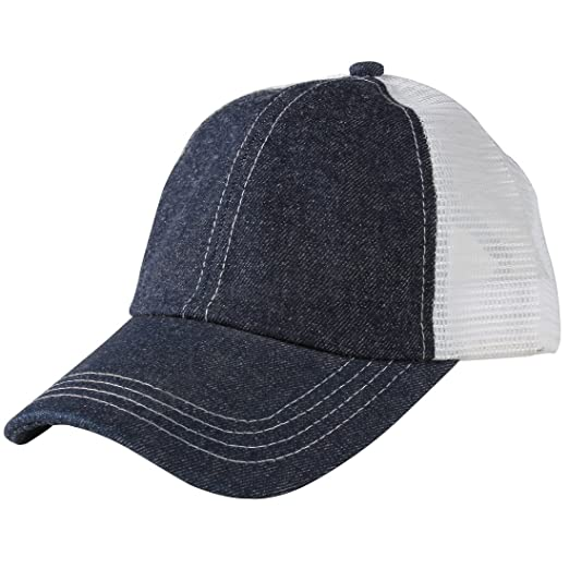 7b69e8a3025 HH HOFNEN Unisex Cotton Denim Baseball Cap Adjustbale Plain Sports Dad Hats  (Denim Navy
