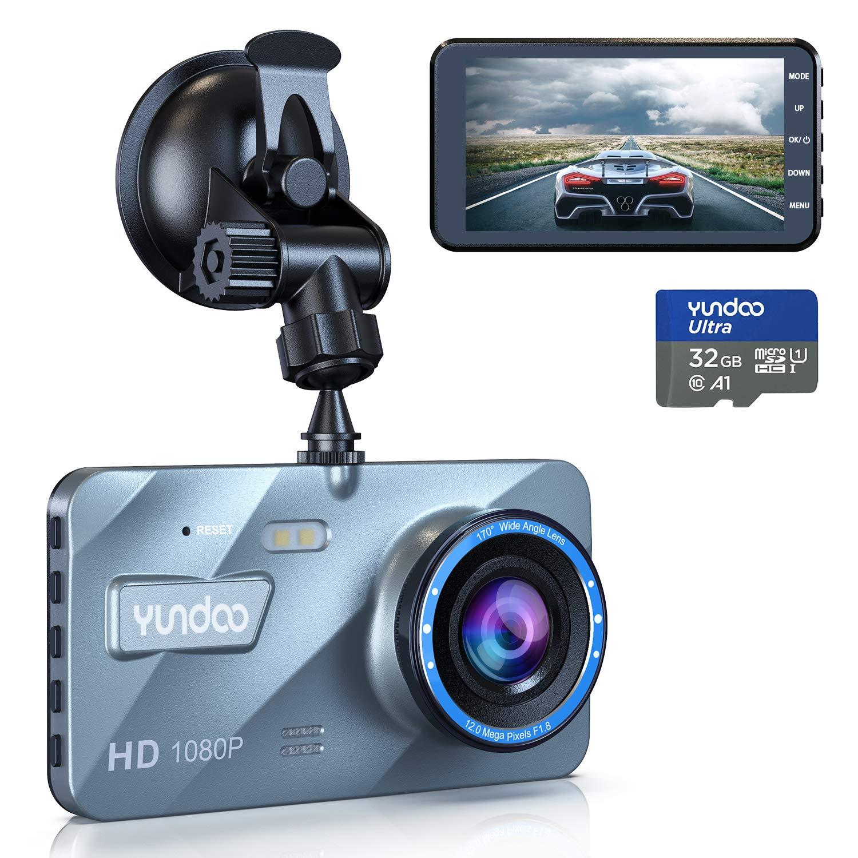 C/ámara de salpicadero delantera y trasera 1080P FHD 4 pulgadas con pantalla IPS genuina de 32 GB tarjeta SD detecci/ón de movimiento sensor G grabaci/ón en bucle