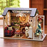 Kisoy Romantic and Cute Dollhouse Miniature DIY House Kit Creative Room Perfect DIY Gift for Friends,Lovers and Families(Sunny Holiday Time)
