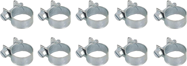 abrazaderas para tuber/ía//combustible Juego de 25 clips de manguera de acero suave galvanizado 17 mm GTSE 15