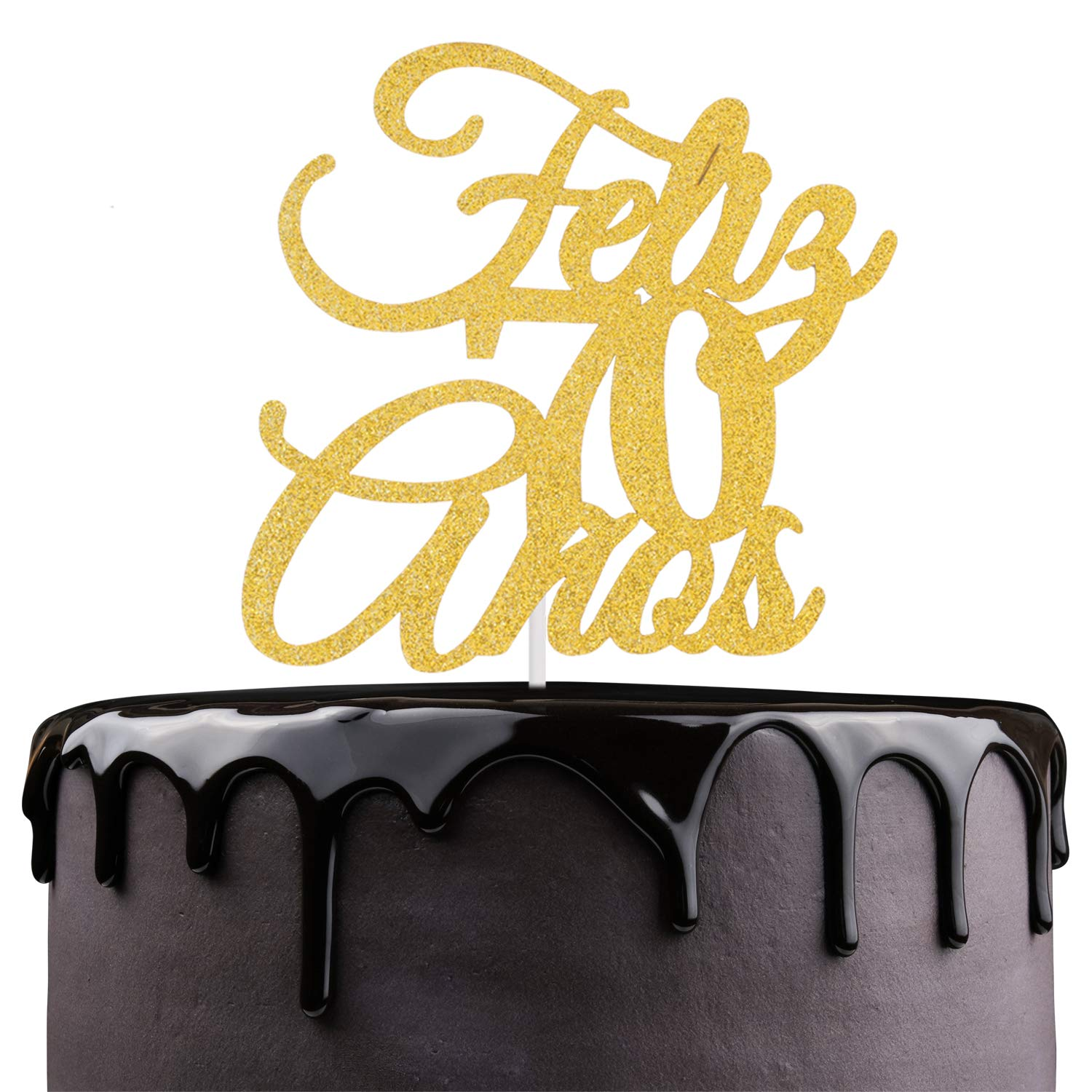 Feliz 70th Anos Anniversary Cake Topper - Gold Glitter Seventy Years Feliz Cumpleanos - Amada y Bendecida 70 Years Loved Blessed - Spanish Summer ...