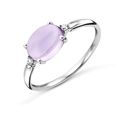 Miore La s 9kt White Gold Diamond and Amethyst Ring Size Q
