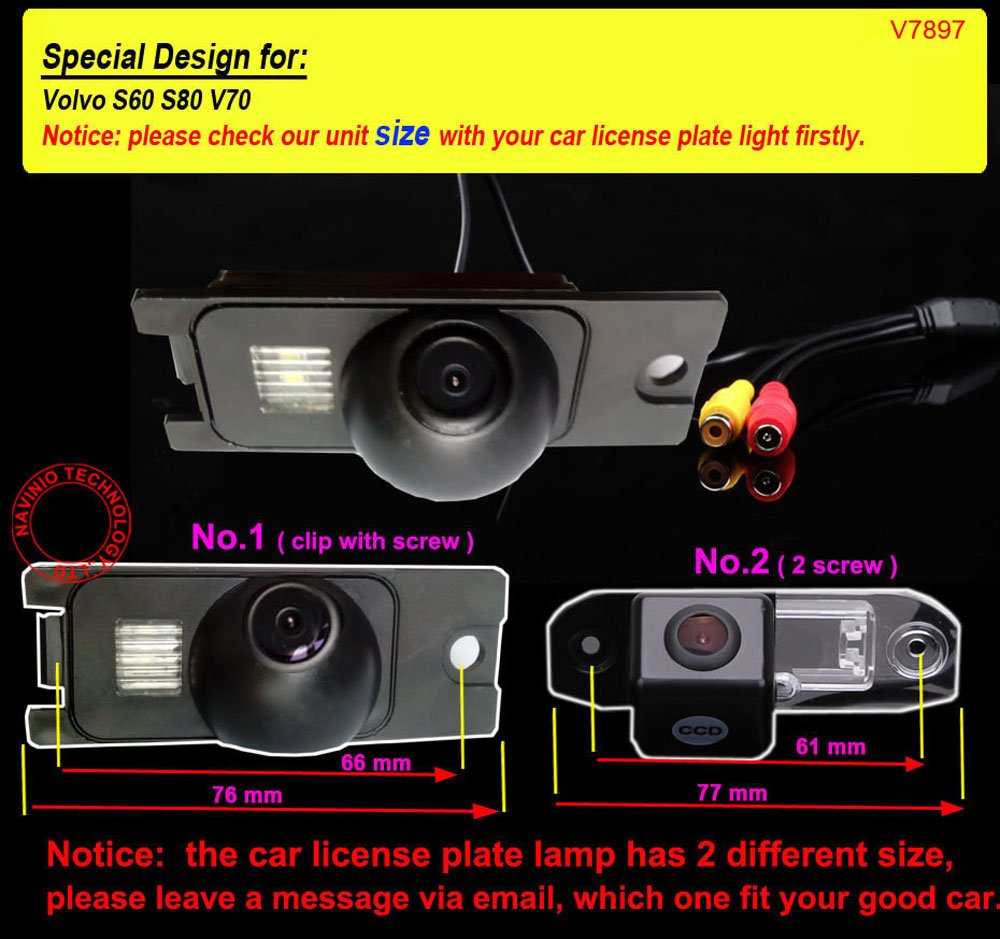Dynavsal Waterproof Backup Camera Color Car Rear View Camera 170 Degree Viewing Angle License Plate with Night Vision for S80L//S40L//S80//S40//S60//V60//XC90//XC60//C70//S60L