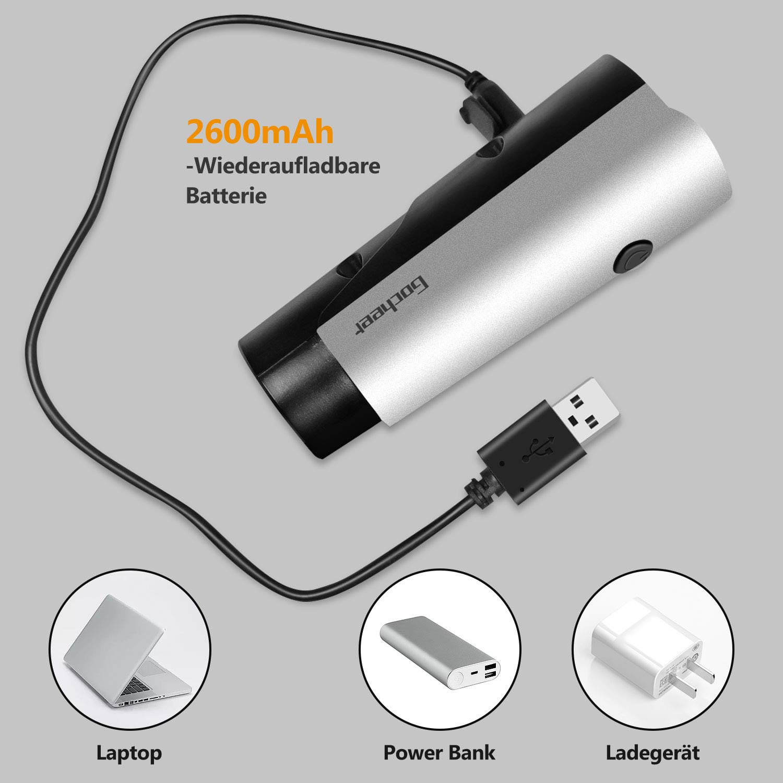 Gocheer LED Fahrradlicht licht,Wiederaufladbare USB Fahrradbeleuchtung Set StVZO Zugelassen Vorne Rücklicht IPX5 Wasserdicht Fahrradlichter 2600mAh Lithiumbatterie