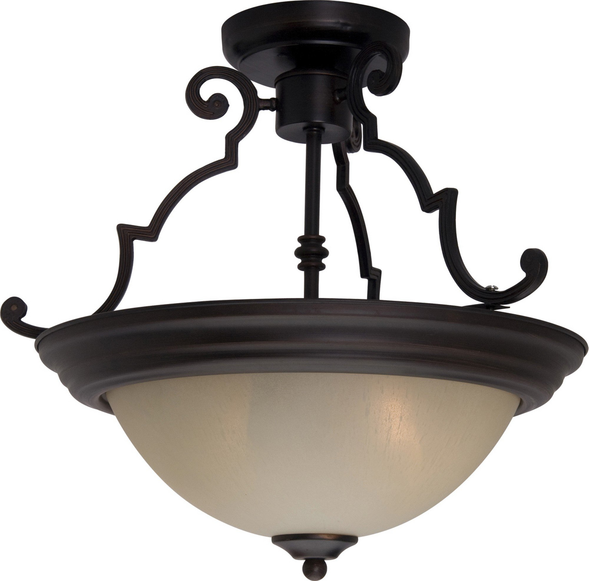 Maxim 5843WSOI Essentials 2-Light Semi-Flush Mount, Oil Rubbed Bronze Finish, Wilshire Glass, MB Incandescent Incandescent Bulb , 60W Max., Dry Safety Rating, Standard Dimmable, Linen Fabric Shade Material, Rated Lumens