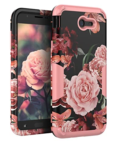 TIANLI Samsung Galaxy J7 2017 Case Shock Absorption Protective for Galaxy J7 2017/J7 V/J7 Sky Pro/J7 Perx/J7V 2017/J7 Prime/Halo,Floral Rose Gold