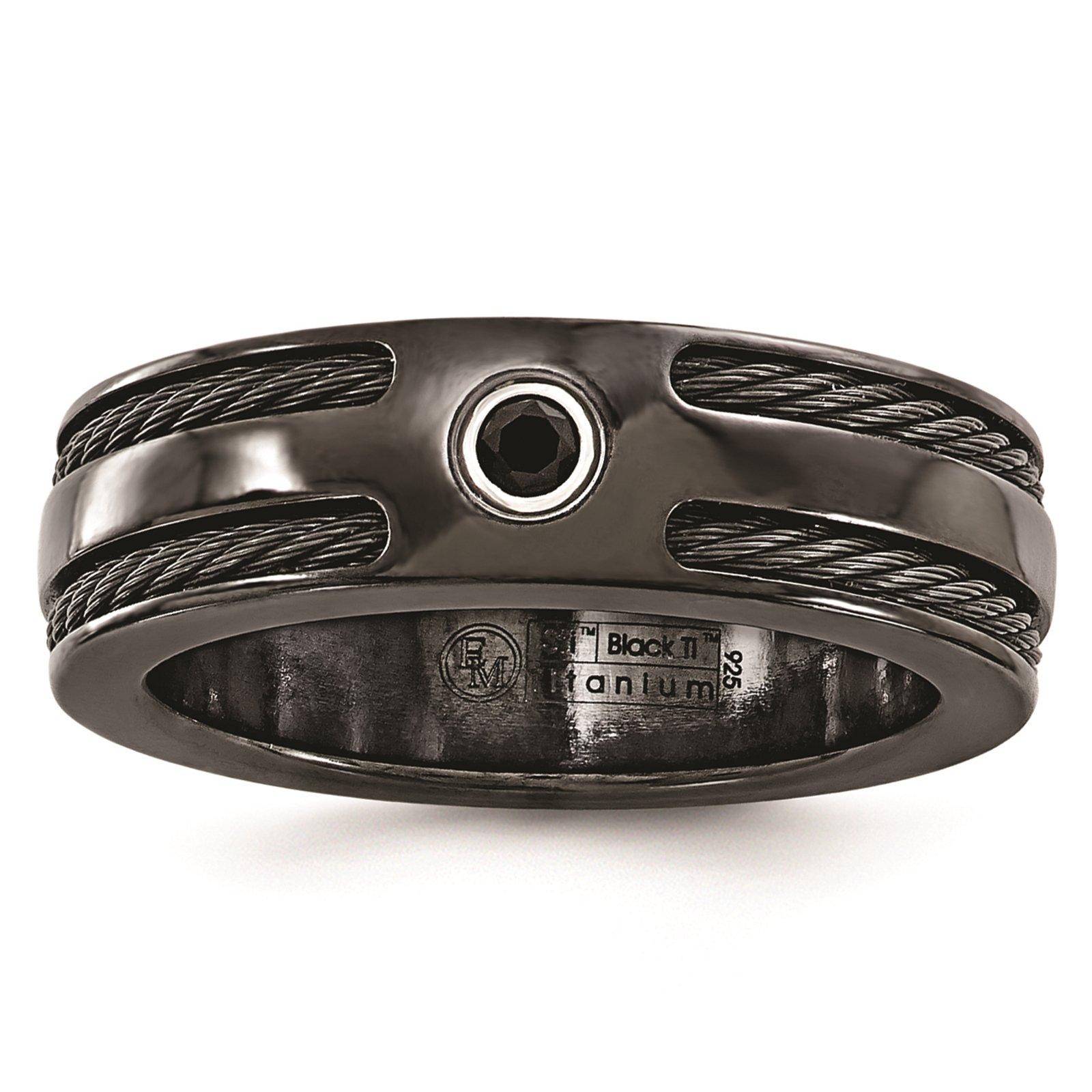 Titanium Black Ti Cable & Black Spinel w/Silver Bezel 7mm Wedding Band Size 8.5 by Edward Mirell