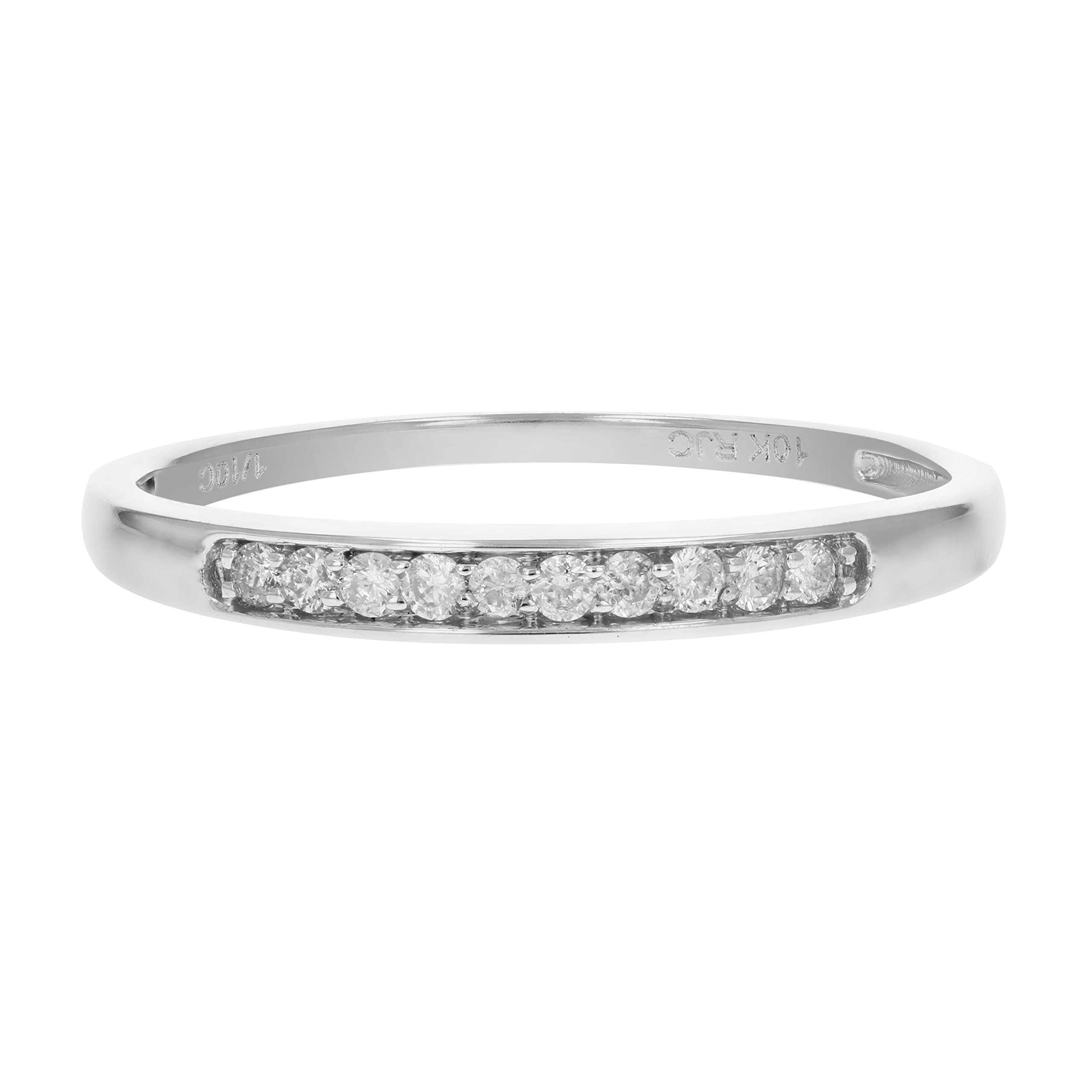 1/10 cttw Diamond Wedding Band 10K White Gold Size 10 by Vir Jewels (Image #4)