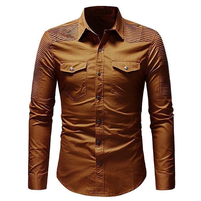 YanHoo Camisa de botón de Corte Slim Casual para Hombre con Blusa de Manga Larga de Bolsillo Moda Casual Delgado y Guapo: Amazon.es: Ropa y accesorios