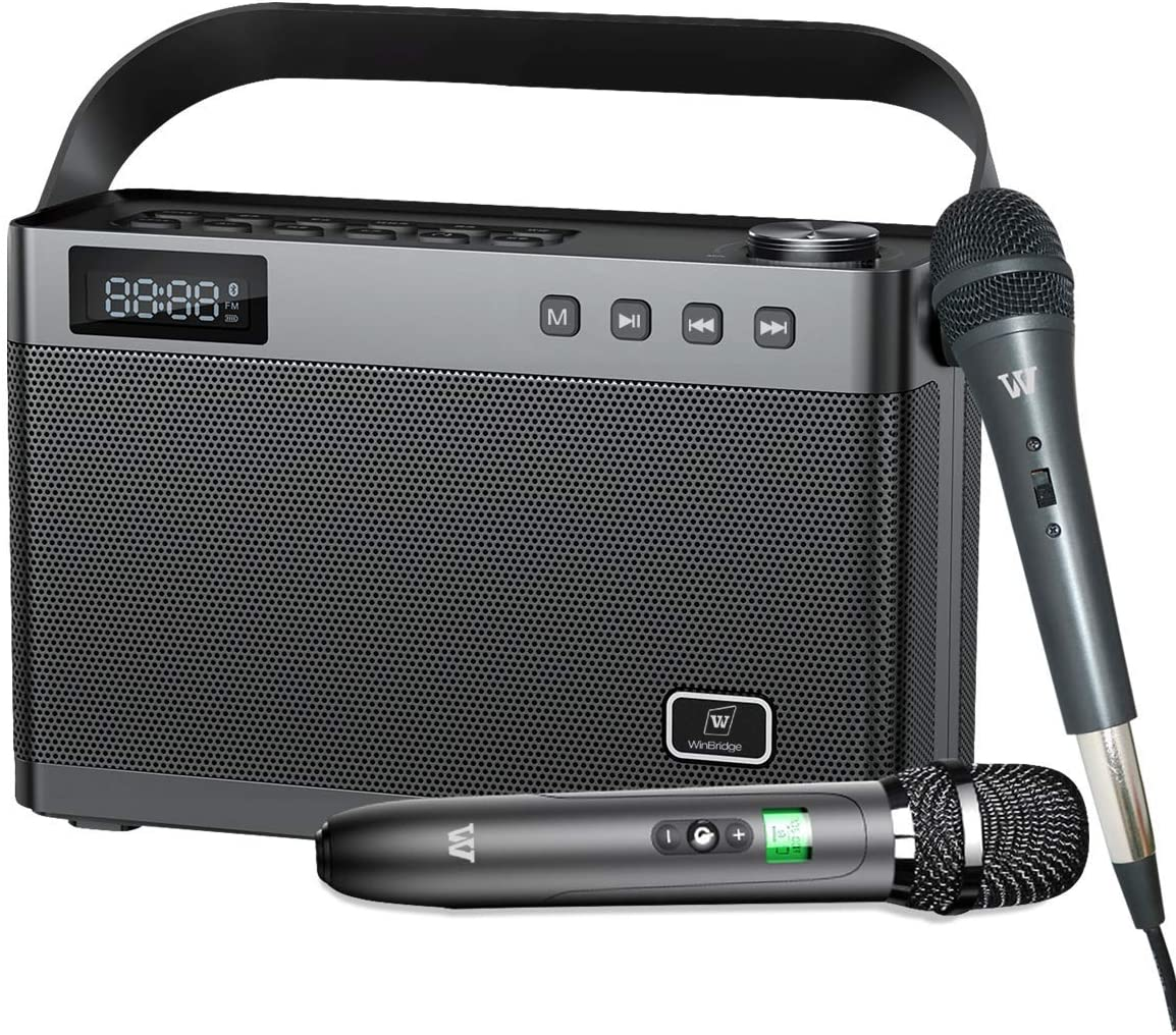 W WINBRIDGE Karaoke Machine with Wireless Microphone, Bluetooth Portable PA Speaker System Built in Soundcard Remote Control with Guitar Input, AUX/USB/SD for Professional Home KTV, Party, Speech T9
