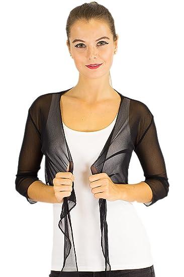 Bolero de gasa manga larga, manga 3/4, chaqueta torera, novia, grupos de danza negro negro: Amazon.es: Ropa y accesorios