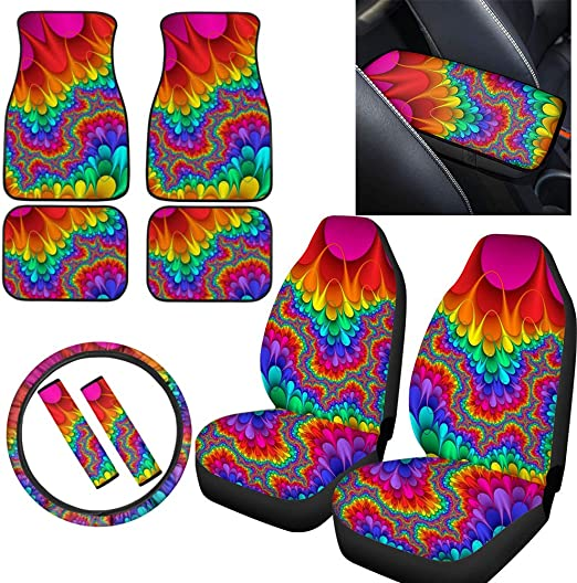 Showudesigns Tie-dye Car Seat Covers Auto Front Seats Protector Covers 2 PCS Rainbow Print Auto Accessories Protectors Universal Fits