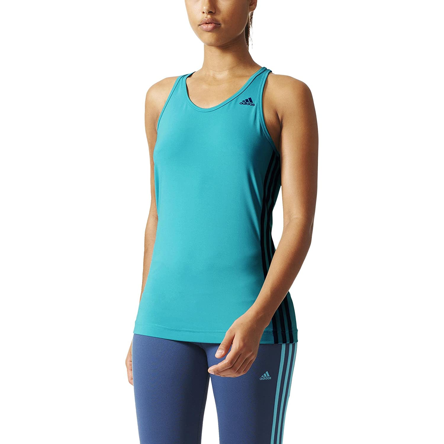 Adidas Damen T Shirt Basic 3 Streifen Tee Blau Shock Green