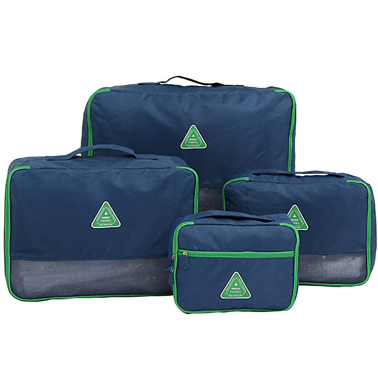 Travel Packing Organizers - Clothes Cubes Shoe Bags Laundry Pouches For Suitcase Luggage, Storage Organizer 4 Set Color Navy