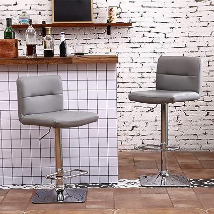 467b51145cdb Amazon.com: Modern Swivel Barstools with Chrome Base, Adjustable Counter  Height Bar Stool, Light Grey PU Leather Padded with Back, Set of 2, ...