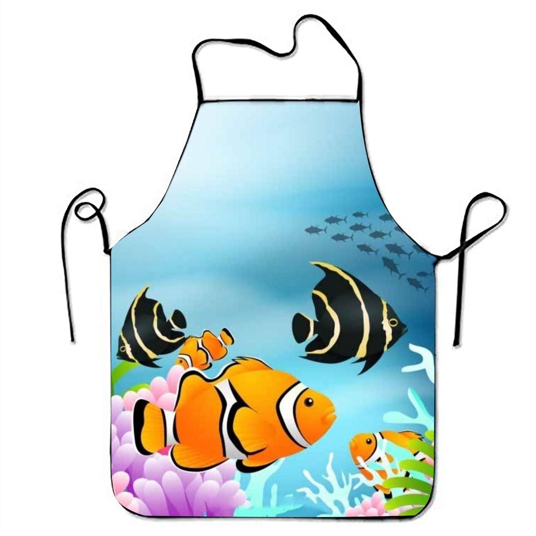 Underwater背景カラフルなFishesリアルなスタイルでキッチン料理エプロンの女性とメンズ調節可能なネックストラップレストランホームキッチンエプロンBib for、料理BBQ   B07FTJTCJP