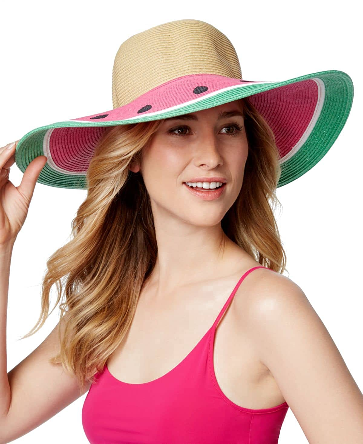f6ea2ea7 August Hats Womens Watermelon Floppy Hat Pink Mix, One Size at Amazon  Women's Clothing store:
