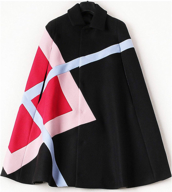 Souiey-shop Winter Woolen Coat Long Casual Cashmere Patchwork Jackets Loose Thicken Cloak Wool Outwear,201,S