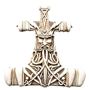 Viking God Thor Bone Hammer Mjolnir Thunder Wall Plaque Home Decor Statue Figurine