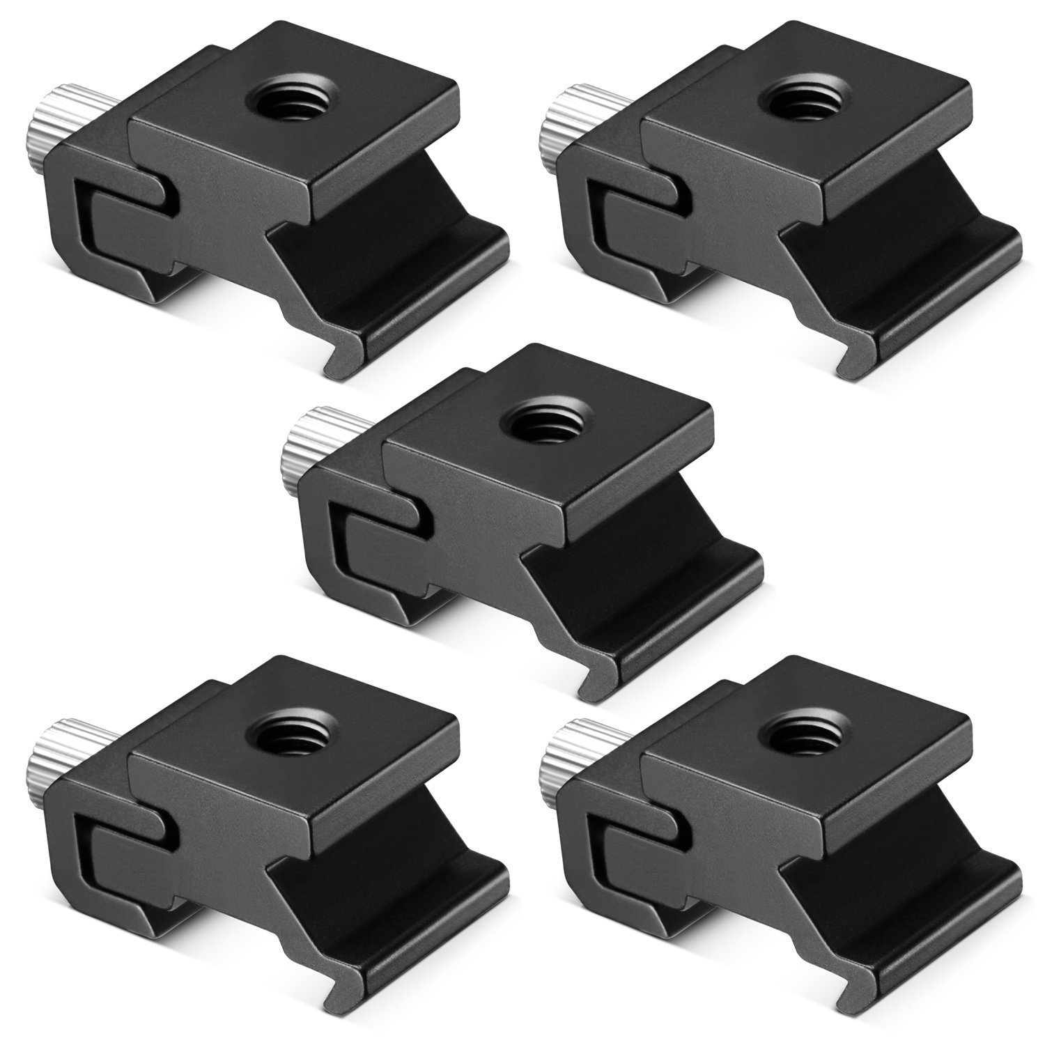 Neewer Black Metal Cold Shoe Flash Stand Adapter with 1/4-inch -20 Tripod Screw (5 Packs)