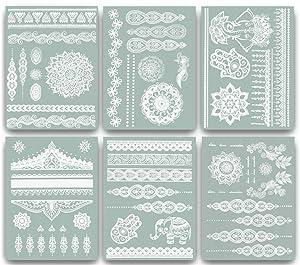 Terra Tattoos Temporary Henna Metallic Tattoos - Over 75 Mandala Tattoos (White)