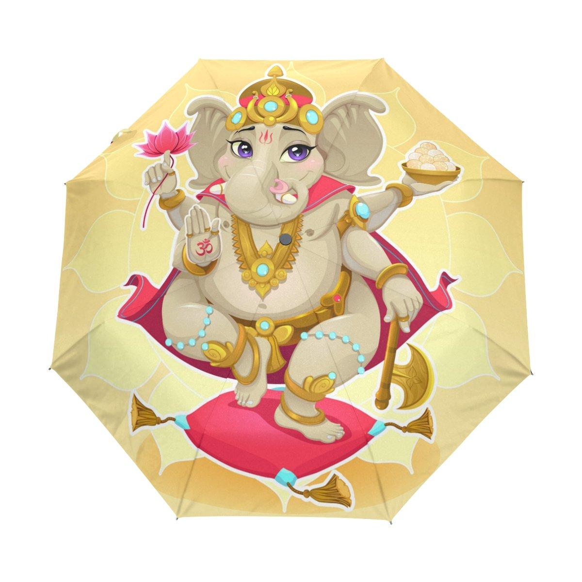 Senya Saobao防風と防雨トラベル傘with自動開いて閉じFolding Elephant瞑想ポータブル折りたたみ式太陽雨傘 B07FFSVRYC