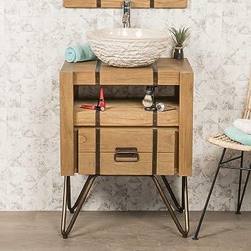 Mueble para cuarto de baño de mindi natural y metal 60 LOFT
