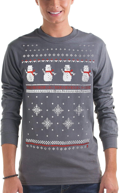 Homme noël bonhomme de neige manches longues t-shirt-une alternative à un noël pull