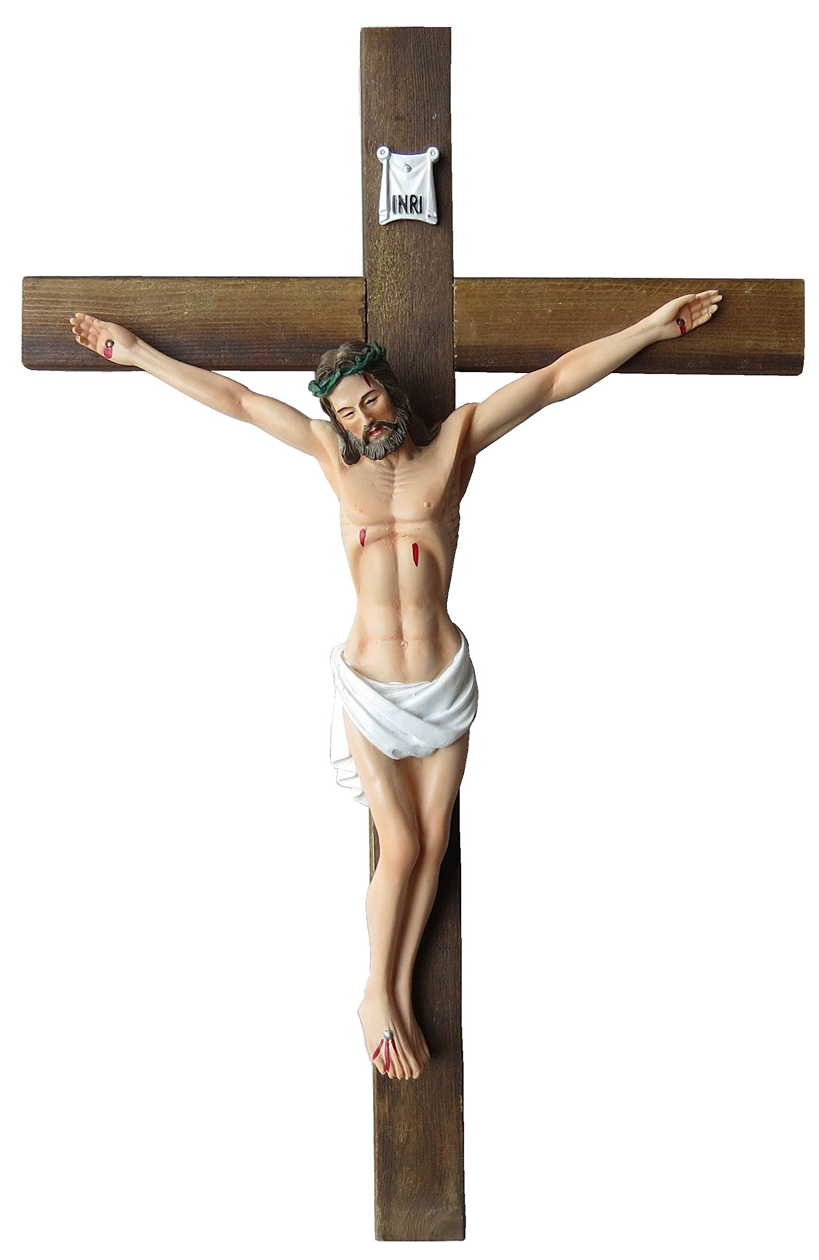 Jesus Christ on Wall Cross 10'' Crucifix Solid Wood Cross High Resin Statue Figure Collectible Sculpture Catholic Home Chapel Décor (10'')