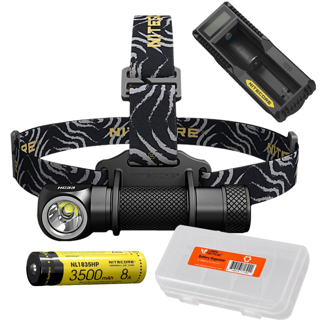 NITECORE HC33 1800 Lumens High Performance Versatile L-Shaped Headlamp, 1x 3500mAh 8A Rechargeable Battery, UM10 Battery Charger, Lumen Tactical Battery Organizer by Nitecore