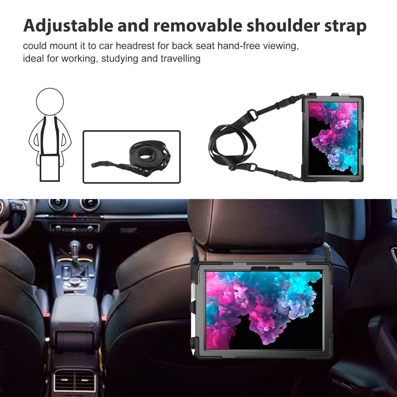 Nero ProCase Rugged Custodia per Microsoft Surface Pro 7//Pro 6// Pro 5th Gen//Pro 2017//Pro 4 Cover Shockproof Custodia Protettiva Antiurto Rotante con Tracolla Shoulder Strap per Surface Pro 4 5 6 7