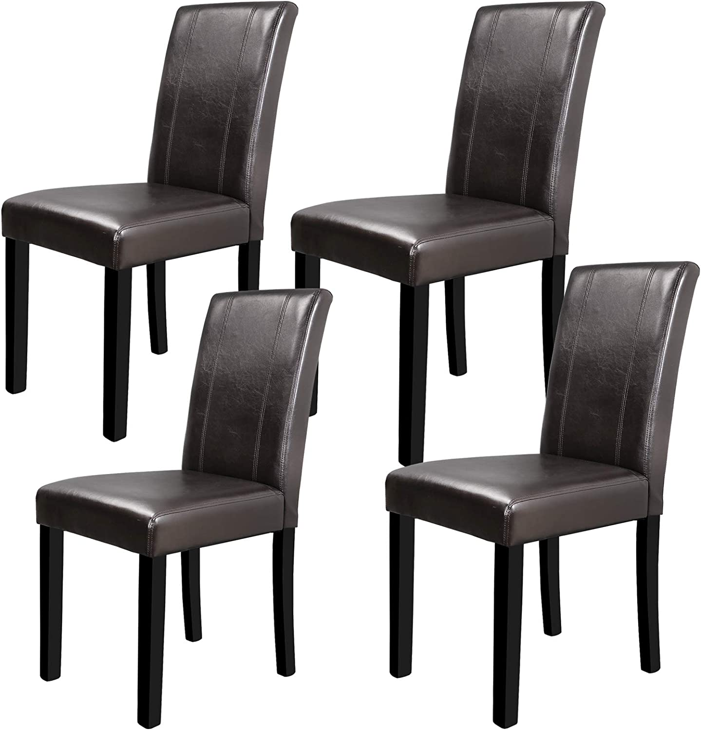 SUPER DEAL Solid Wood Leatherette Padded Parson Dining Chair, Waterproof & Oilproof Stretch Kitchen Dining Room Chairs , Espresso (4)