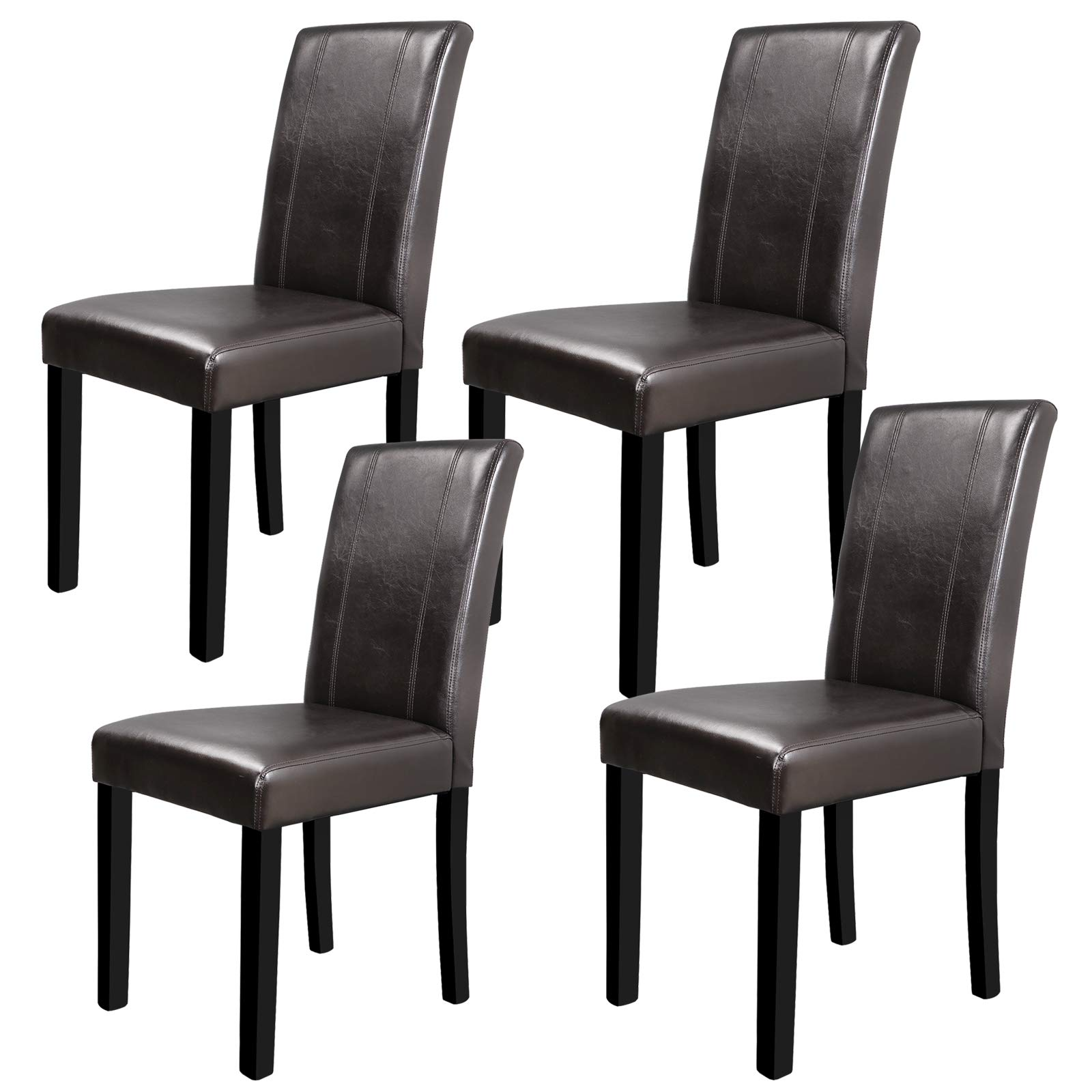 SUPER DEAL Solid Wood Leatherette Padded Parson Dining Chair, Waterproof & Oilproof Stretch Kitchen Dining Room Chairs, Espresso (4) by SUPER DEAL