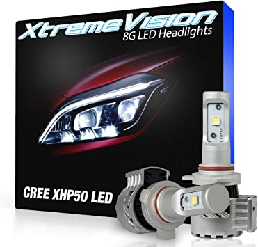 Amazon Com Xtremevision 8g 72w 12 000lm Led Bulb 9012 Led Headlight Kit 6500k Xhp50 Cree Led Automotive