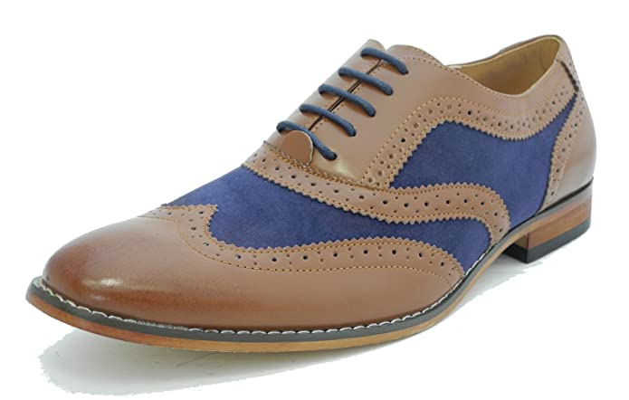 348fef398d0 Mens Blue Micro Suede Tan Leather Lined Lace Up Smart Casual Brogues Gatsby  Spats Shoes  Amazon.co.uk  Shoes   Bags