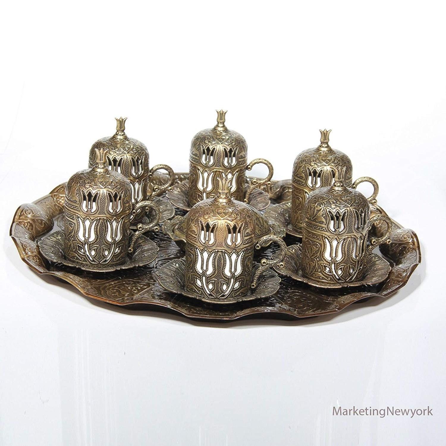 New 27 Pc Ottoman Turkish Greek Arabic Coffee Espreso Serving Cup Saucer Antique