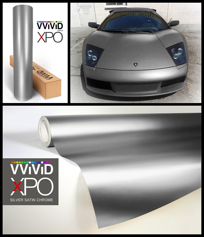 1ft x 5ft Silver Matte Chrome Car Wrap Stretch Conform Cast Vinyl 3mil Roll-VViViD8