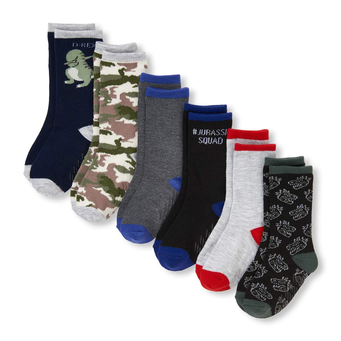 The Childrens Place Baby Boys 6 Pack Dinosaur and Camo Socks