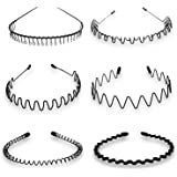 6 PCS Unisex Black Spring Wave Metal Hair Hoop Men Women Sports Headband Accessory
