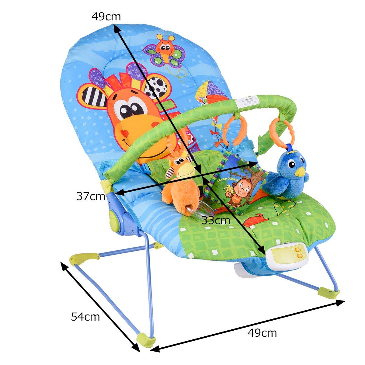 Blau Babyliegestuhl Baby Schlafkorb max.11 kg beslatbar Baby Schaukelwippe Babyschaukel verstellbar DREAMADE Babywippe mit musik und vibration