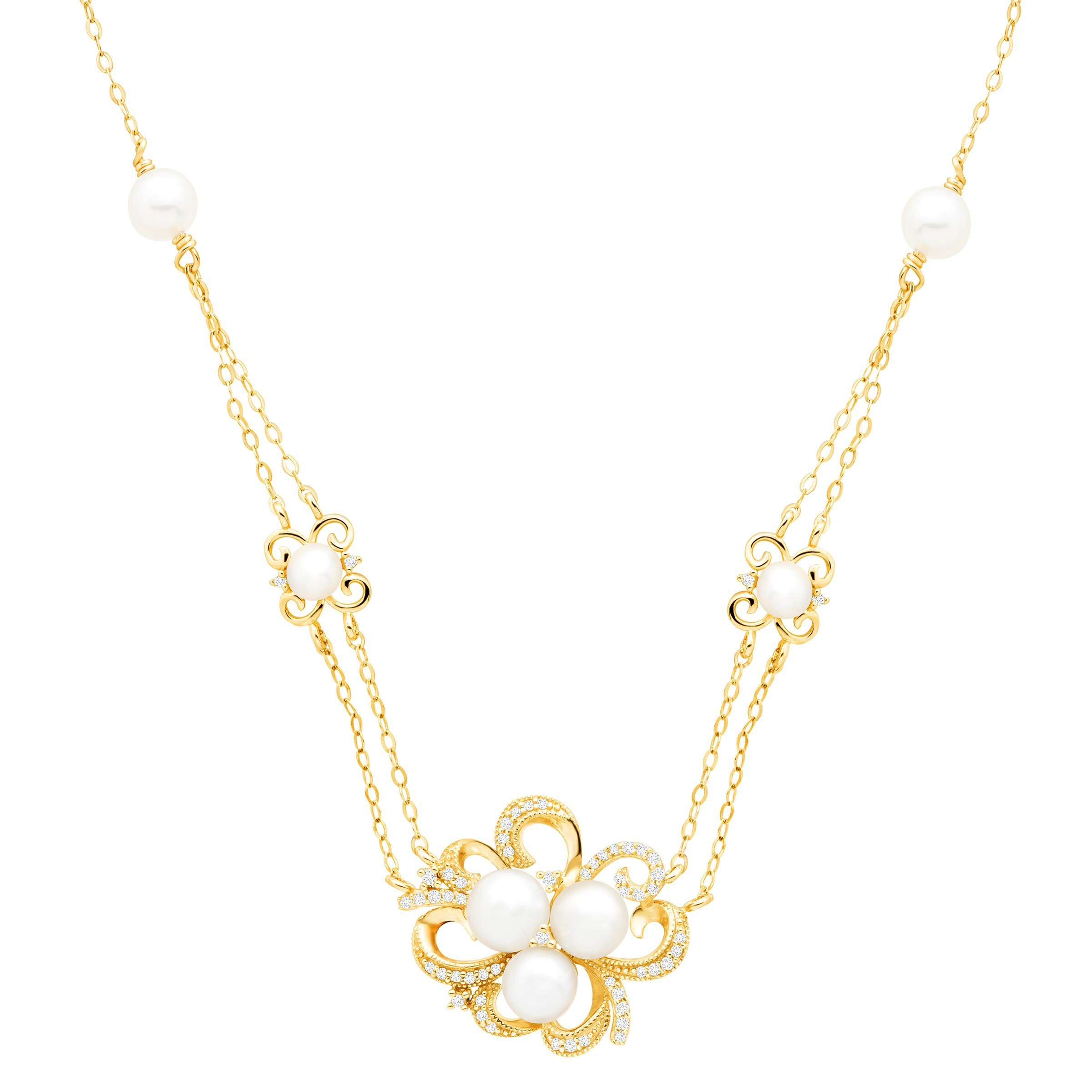 Freshwater Cultured Pearl & 1/5 ct Diamond Floral Station Pendant in 10K Gold