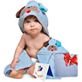 Sivaron(TM) Hooded Baby Towel, Puppy Shaped. Soft Cotton, Large Sized:30X30 Inch. Free Gifts: Bamboo Hand Towel, Designed Greeting Card, Parenting eBook. Great Gift for Newborns, Infants and Toddlers