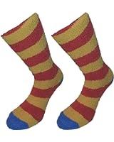 Femmes Filles Lazy Jacks Cosy plumes à rayures détente Bedsock Chaussettes Lot de 2paires–Disponible dans une Gamme de couleurs