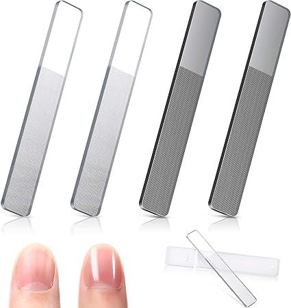 Juego de 4 esmaltes de uñas de cristal con estuche para uñas naturales: Amazon.es: Belleza