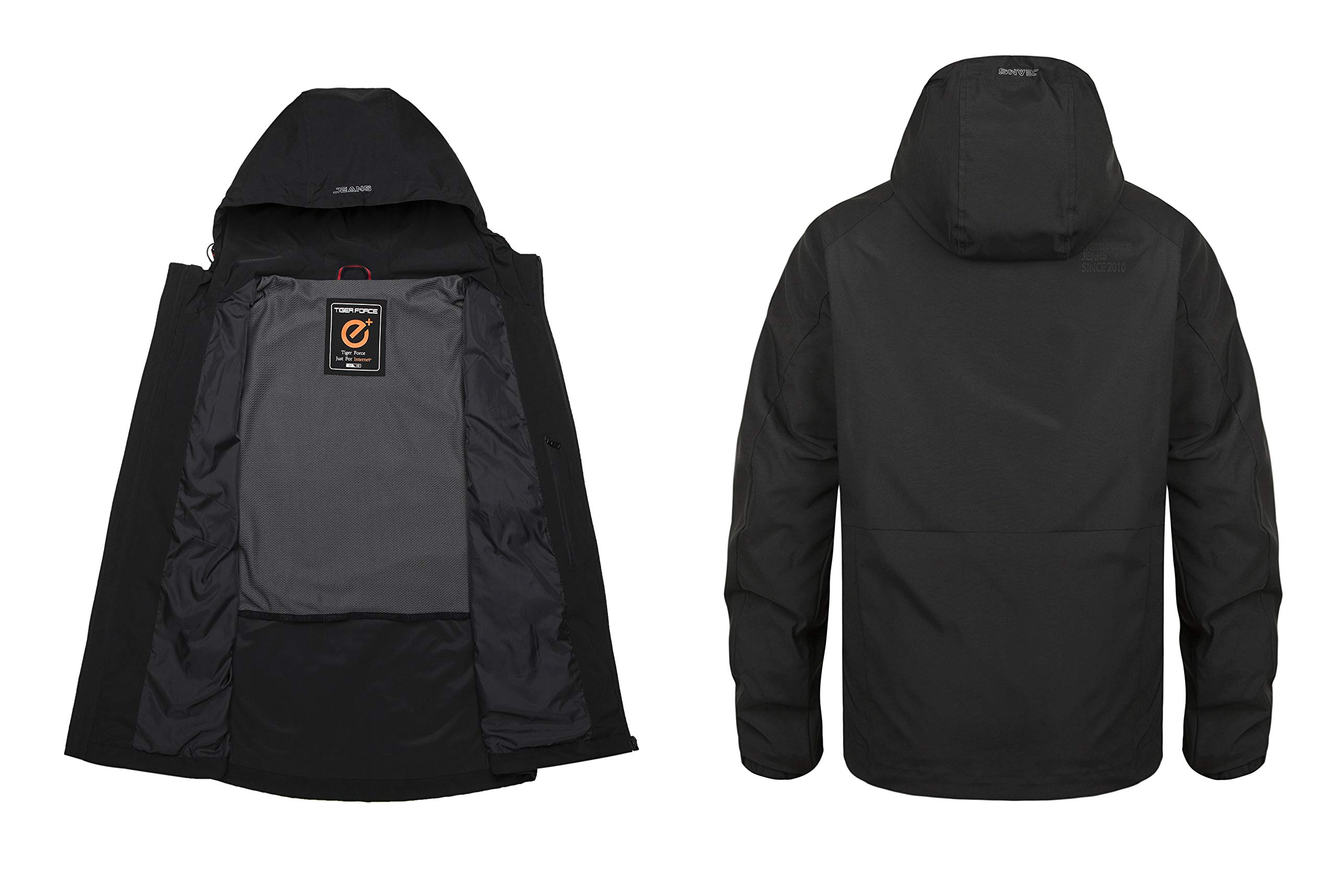 TIGER FORCE Windbreaker Active Jacket Men Insulated Quilted Lined Coat Casual Shell with Hoodie