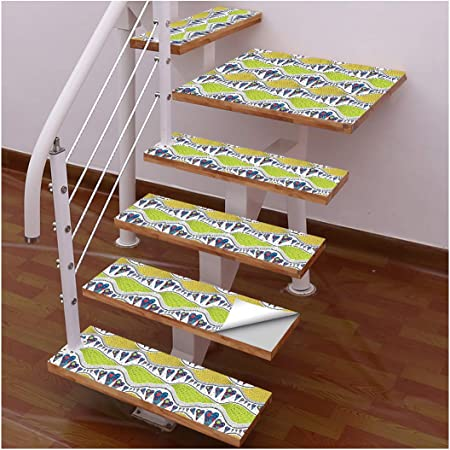 Ancoree Textura Romántico Escalera Pegatinas Escalera Mat Paso Alfombra Decoración Alfombra Mat Escalera Sticker Piso Autoadhesiva Antideslizante Escalera Peldaños Protector Stair Sticker (6PCS): Amazon.es: Hogar